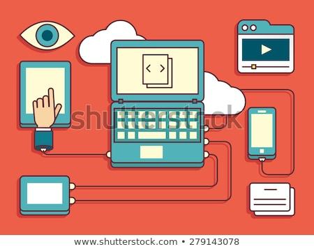 felhő · gép · digitális · eszközök · üzletember · laptop - stock fotó © rastudio