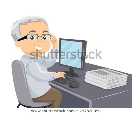 Senior Man Newspaper Computer Illustration Stock photo © lenm