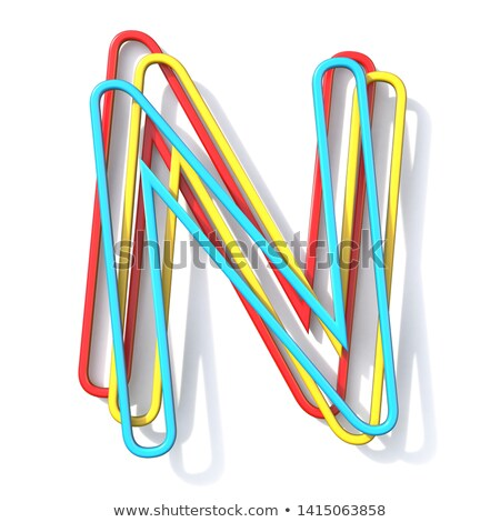Stock photo: Three basic color wire font Letter N 3D