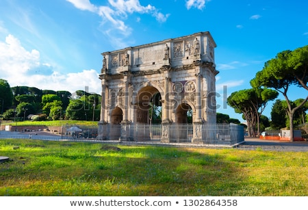 colosseum and arch of constantine rome italy stock photo © neirfy
