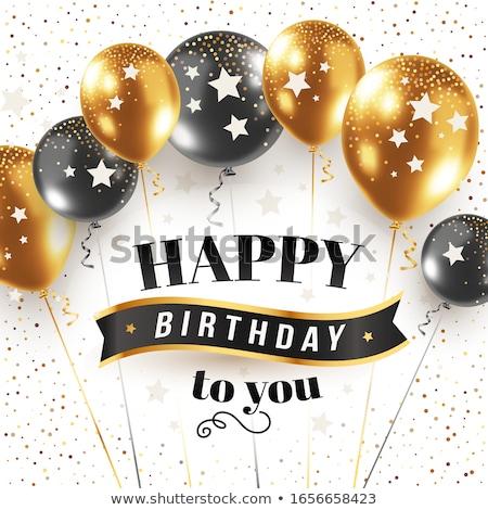 Joyeux anniversaire ballon décoration vecteur accueil Photo stock © pikepicture