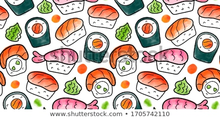 Vector sushi color sketch, Philadelphia roll Stock photo © netkov1