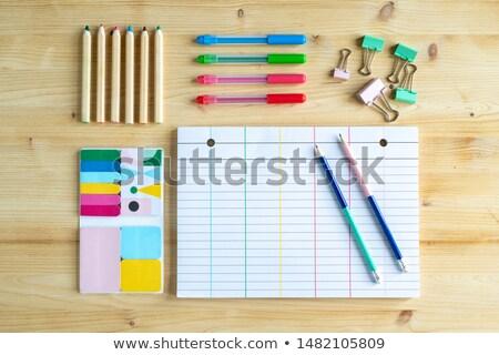 Strona notebooka dwa ołówki kredki grupy Zdjęcia stock © pressmaster