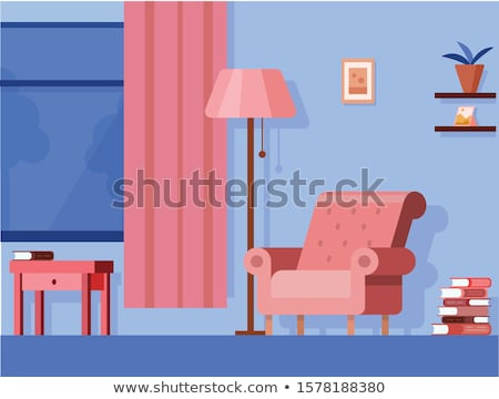 Couch and Table in Resting Room Cartoon Banner Stock photo © robuart