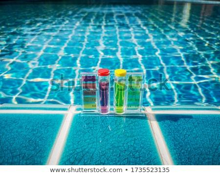 Medición piscina agua casa verano servicio Foto stock © galitskaya