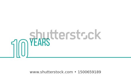 Stock photo: 10 years anniversary or birthday. Linear outline graphics. Can be used for printing materials, brouc