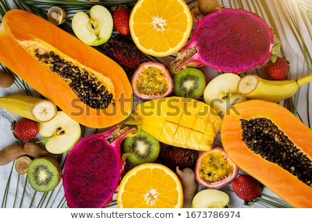 tropische · vruchten · Geel · creatieve · lay-out - stockfoto © furmanphoto