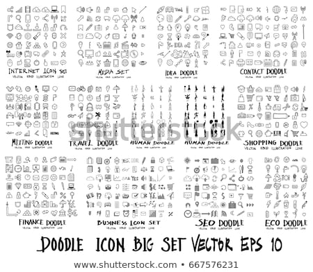 Business person with drawn icons Stock photo © ra2studio
