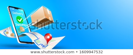Express delivery service flat vector illustration stock photo © RAStudio