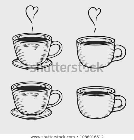 Porselein beker koffie schotel geïsoleerd schets Stockfoto © robuart