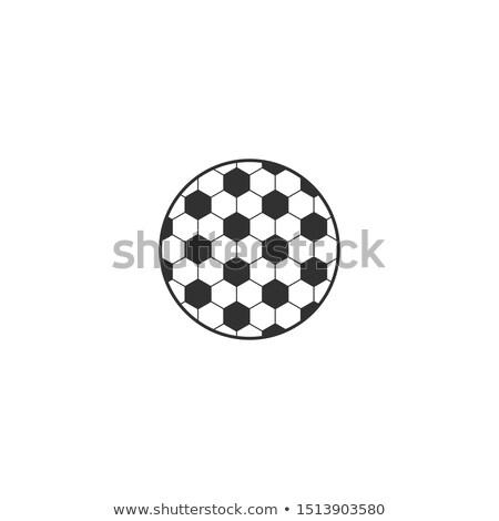 soccer ball hexagonal net circle logo element stock vector illustration isolated on white backgroun stock photo © kyryloff