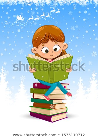 baby girl and reindeer read books for christmas stock photo © liolle