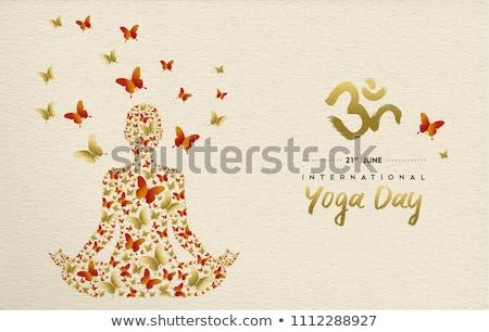 Yoga Day card of lotus pose and gold chakra icons Stock photo © cienpies