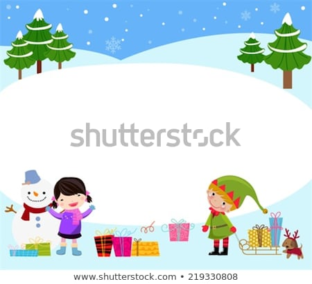 christmas banner of cute children making snowman stock photo © cienpies