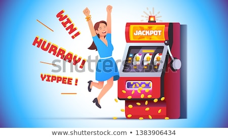 People Celebrating Slot Machine in Casino Vector Stock photo © robuart