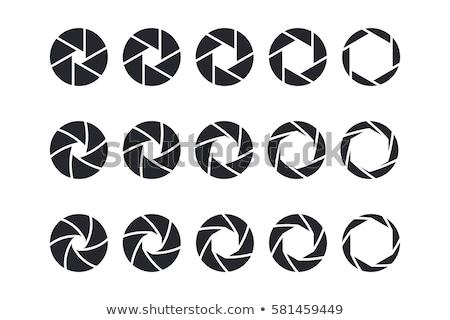 Set of black camera lens aperture icons. Stock photo © ColorHaze