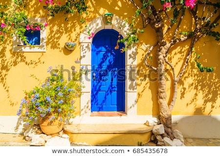 красивой белый здании синий двери вход Сток-фото © feverpitch