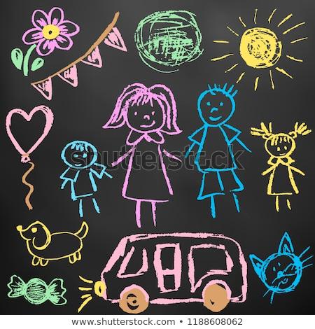 Kinderachtig kleurrijk tekeningen Blackboard auto Stockfoto © przemekklos