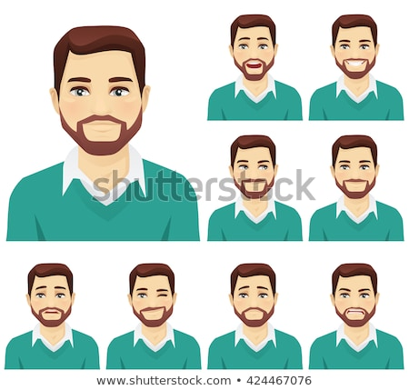Set of young man avatars expressing various emotions. Vector illustration in cartoon style. Handsome Stock photo © ukasz_hampel