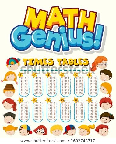 Doopvont ontwerp woord math genie kinderen Stockfoto © bluering