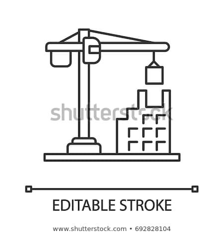 Industriële gebouw kraan icon vector schets Stockfoto © pikepicture