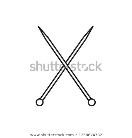Köt tűk ikon vektor skicc illusztráció Stock fotó © pikepicture