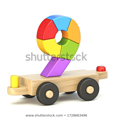 Wooden train Number 9 NINE 3D Stock photo © djmilic
