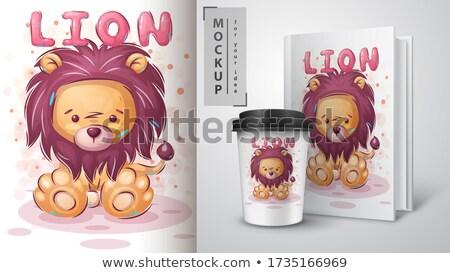 Aslan poster vektör eps 10 gülümseme Stok fotoğraf © rwgusev