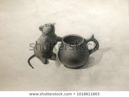 Myszą kubek akademicki rysunek ilustracja farbują Zdjęcia stock © evgeny89