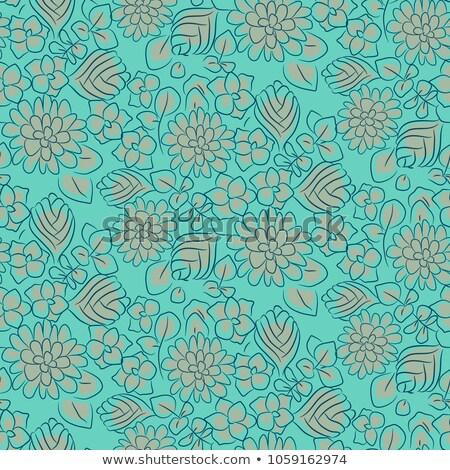 Handdrawn flower dense turquoise line seamless pattern. Stock photo © yopixart