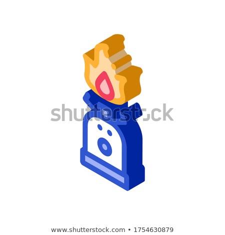 Henger tűz főzés izometrikus ikon vektor Stock fotó © pikepicture