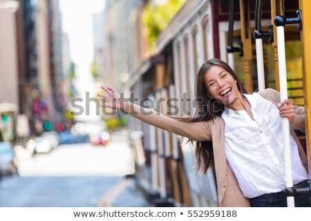 Boldog ázsiai fiatal nő izgatott szórakozás lovaglás Stock fotó © Maridav
