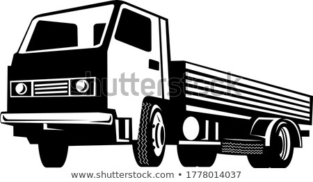 Lightweight Flatbed Truck Viewed from Low Angle Retro Black and White  Stock photo © patrimonio
