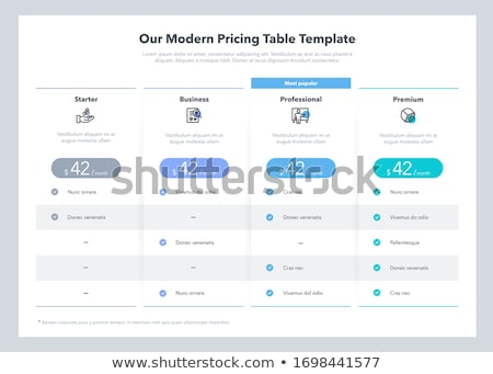Abonnement plannen tabel web sjabloon Stockfoto © SArts