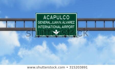 Autópálya tábla zöld Mexikó felhő utca felirat Stock fotó © kbuntu