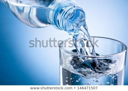 água mineral garrafa pequeno em pé escuro mesa de madeira Foto stock © franky242