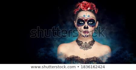 bela · mulher · vermelho · luvas · neve · quadro · mulher - foto stock © pilgrimego