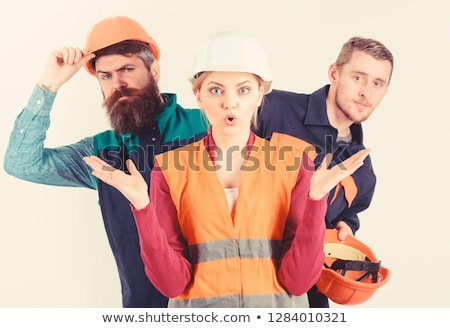 Confuso construtor homem casa azul profissional Foto stock © photography33