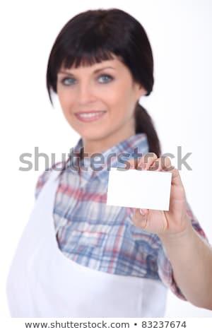 Stockfoto: Vrouwelijke · slager · oproep · kaart · vrouw