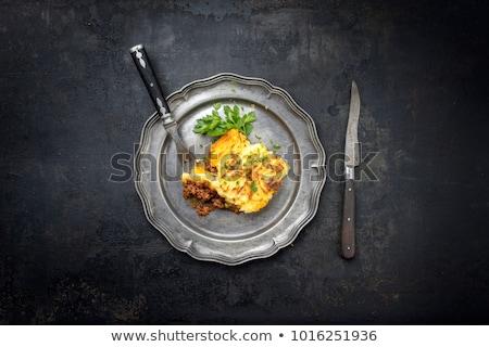 chalet · tarte · oeuf · restaurant · de · pomme · de · terre · boeuf - photo stock © m-studio