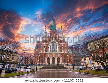 öreg · piros · tégla · katolikus · templom · külső - stock fotó © restyler