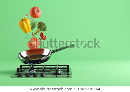 wok · konyha · étterem · vacsora · fekete · fehér - stock fotó © photography33