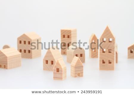 Sok kicsi házak fehér üzlet számítógép Stock fotó © Ciklamen