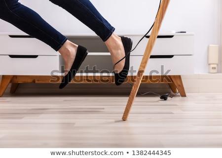 Desajeitado mulher eletricista preto engraçado louco Foto stock © photography33
