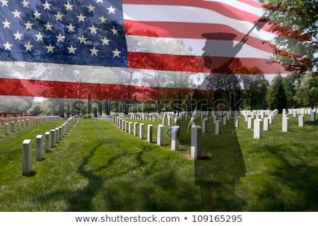 militar · cementerio · bandera · de · Estados · Unidos · guerra · bandera · muertos - foto stock © saje