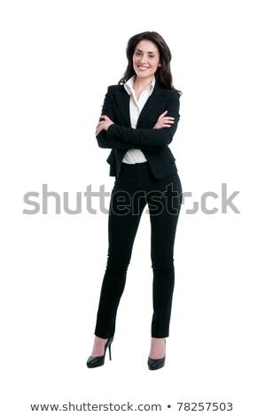 Fier jeune femme affaires costume isolé blanche Photo stock © pzaxe