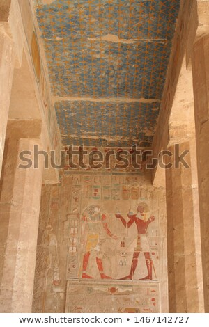 painting inside the Mortuary Temple of Hatshepsut Stock photo © prill