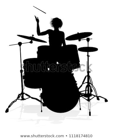женщины барабанщик фотография играет барабан набор Сток-фото © sumners
