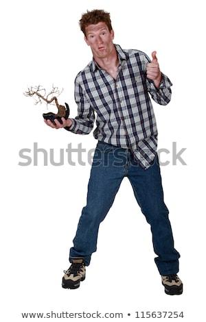 Man bonsai slechte vorm hand plant Stockfoto © photography33