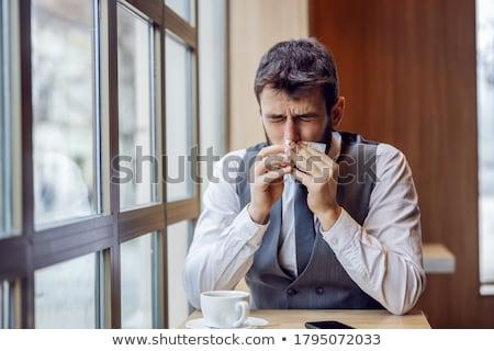 empresário · garganta · inflamada · vermelho · cachecol · isolado · branco - foto stock © photography33